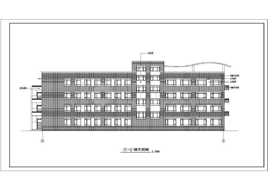 红旗小学四层框架结构教学楼建筑设计图