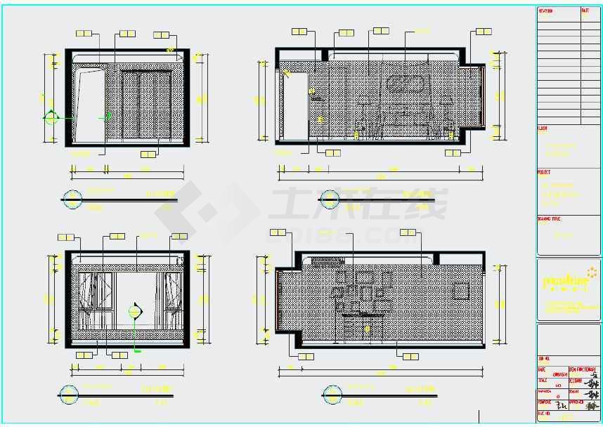 两室一厅样板房装修施工图 含水电暖高清图片