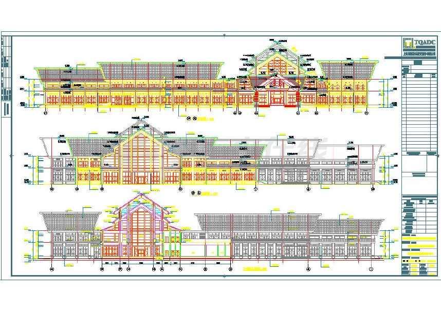 【广东】三层某宾馆中式风格接待中心建筑施工图