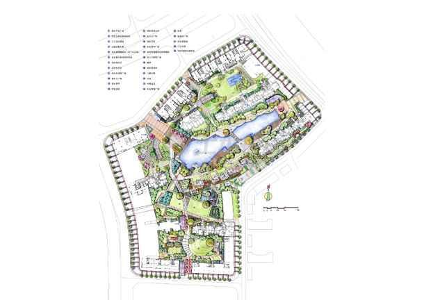 居住区景观设计图 方案设计 【常州】河景花园全套景观手绘扩初文本(j