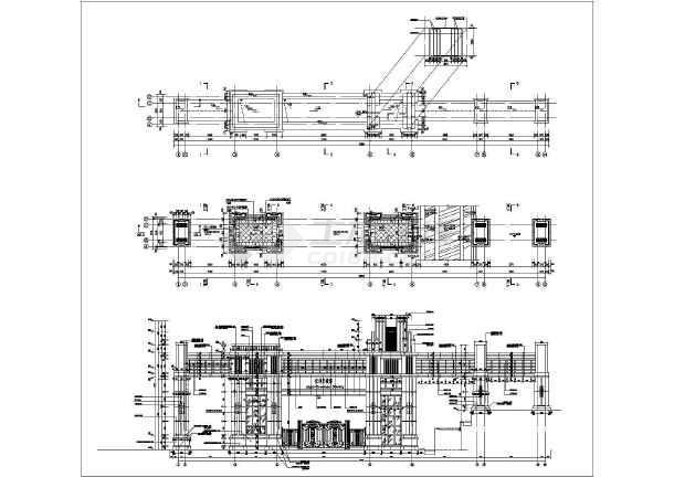 住宅小区主入口大门结构施工图 含建筑图