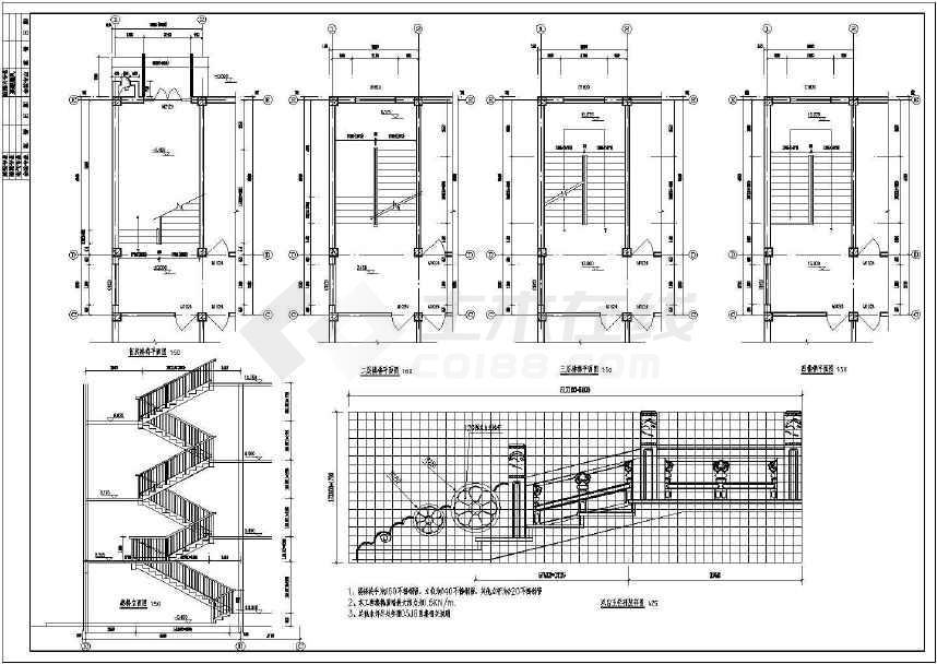 四层仿古建筑中学教学楼建筑施工图简介:  包含顶层楼梯平面图,退台
