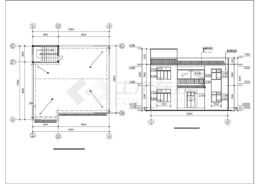 某新农村二层半砖混半框架结构别墅设计施工图
