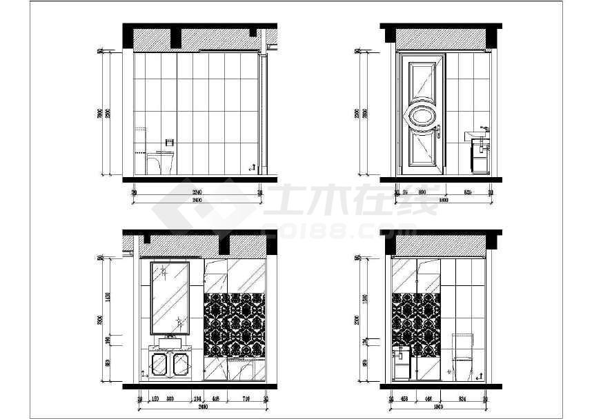 【南通】欧式风格三室两厅样板房室内装修施工图(附效果图)