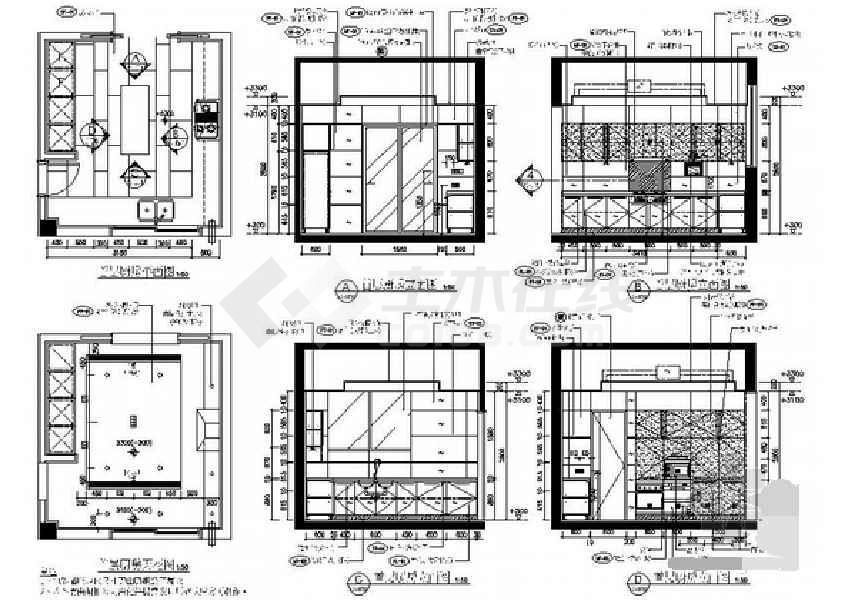 立面图:(门厅,客厅,餐厅,化妆间,厨房,楼梯间,浴室,工人房,洗衣房,储