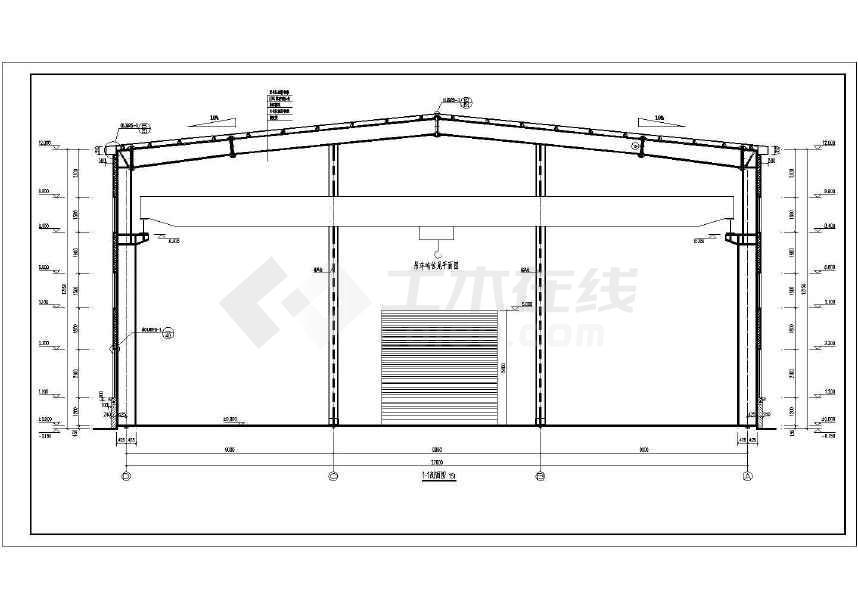 某地区27米跨带十吨吊车钢结构厂房建筑图