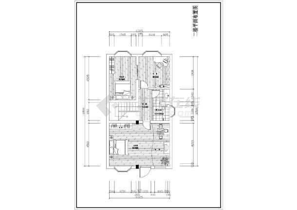 室内装饰装修设计图纸,图纸包含一至三楼的原始结构图和平面设计图