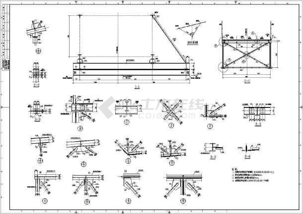质保图纸 结构设计施工图 其他结构施工图 某钢铁冶金厂钢结构通廊