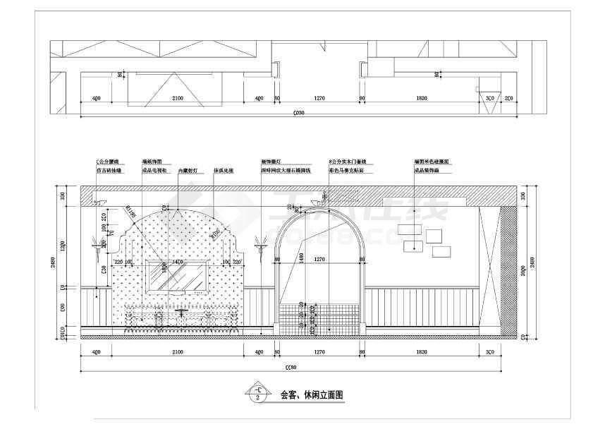 尚湖山庄欧式三层联体别墅装修施工图(附效果图),图纸包含了平面图
