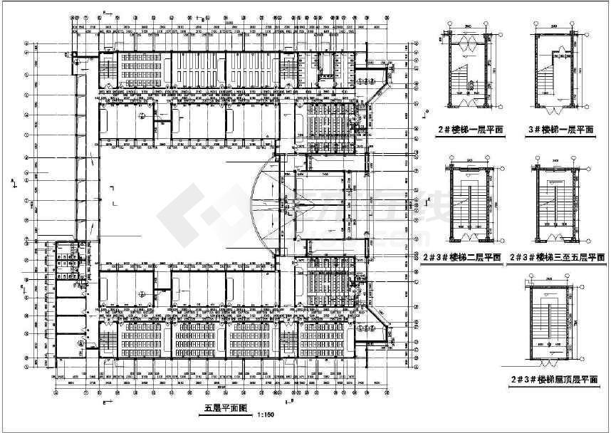 楼梯剖面图,楼梯屋顶层平面,卫生间放大平面图,局部四层平面图,楼梯