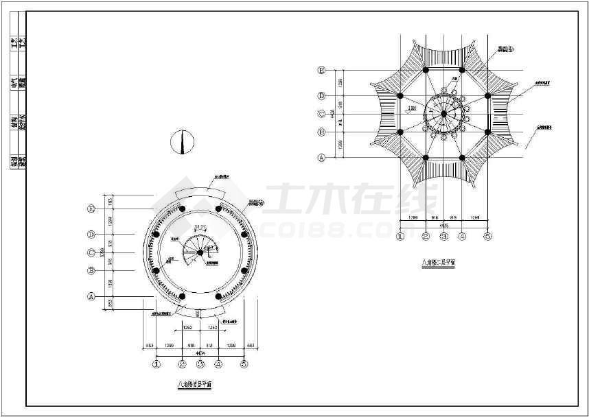 中国古典木结构八角亭子施工图详图