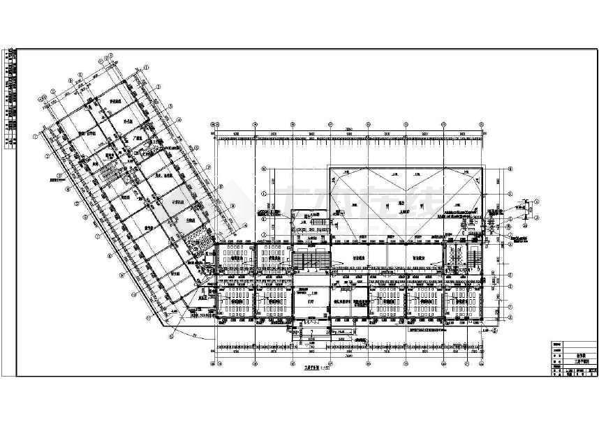 某中学的施工图平面图,内有教室,教师办公室,各种实验室,多媒体室