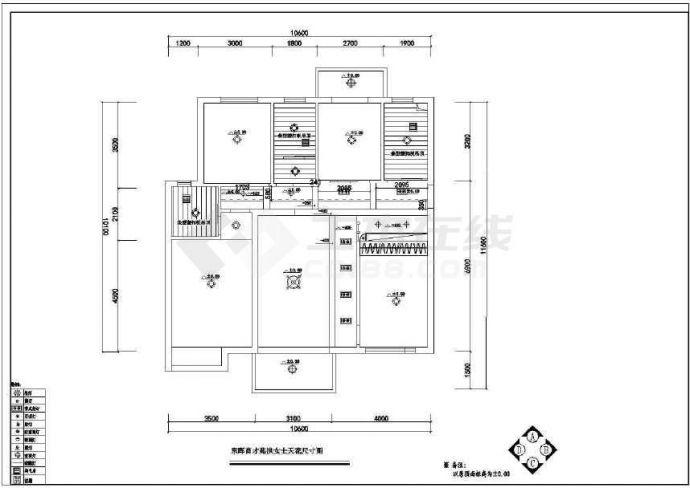 【弧形布置图】某三室两厅室内设计平面设计方cad图楼梯全套立面图片