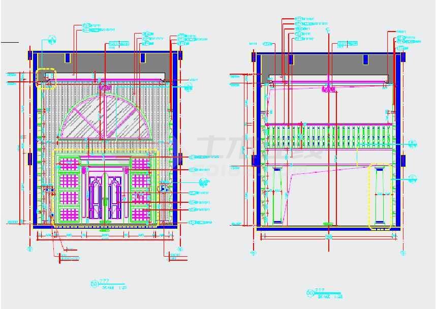 【福建】豪华古典欧式风格酒店式公寓装修室内设计施工cad图(附方案效