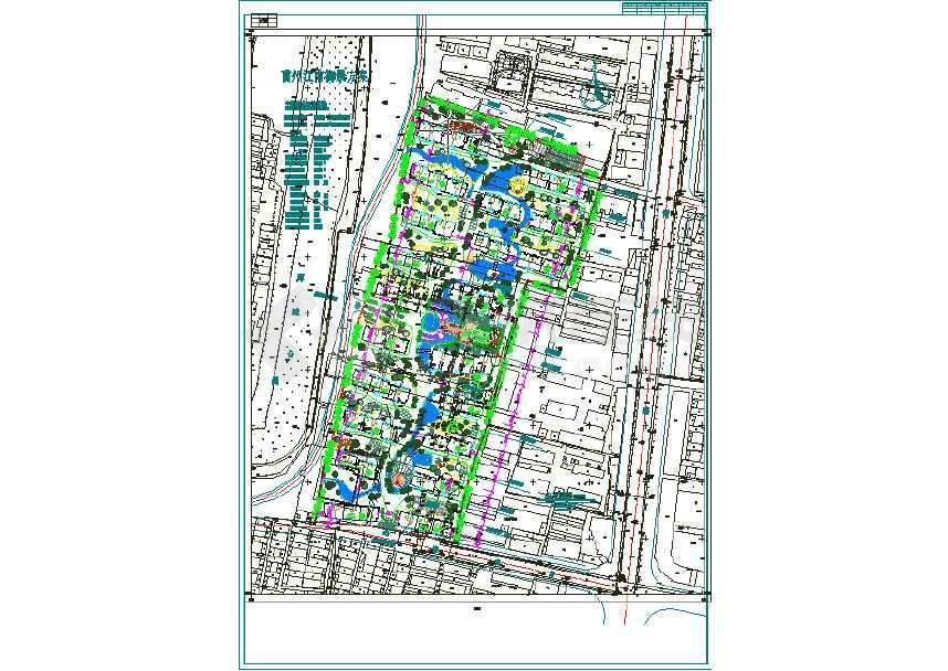 某5万平米长条地块居住区规划方案总平面图图片