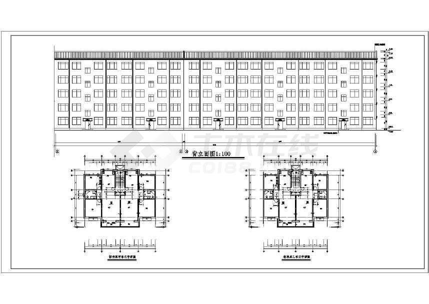 【乌海市】住宅小区五层砖混结构住宅楼建筑,结构,水电施工图