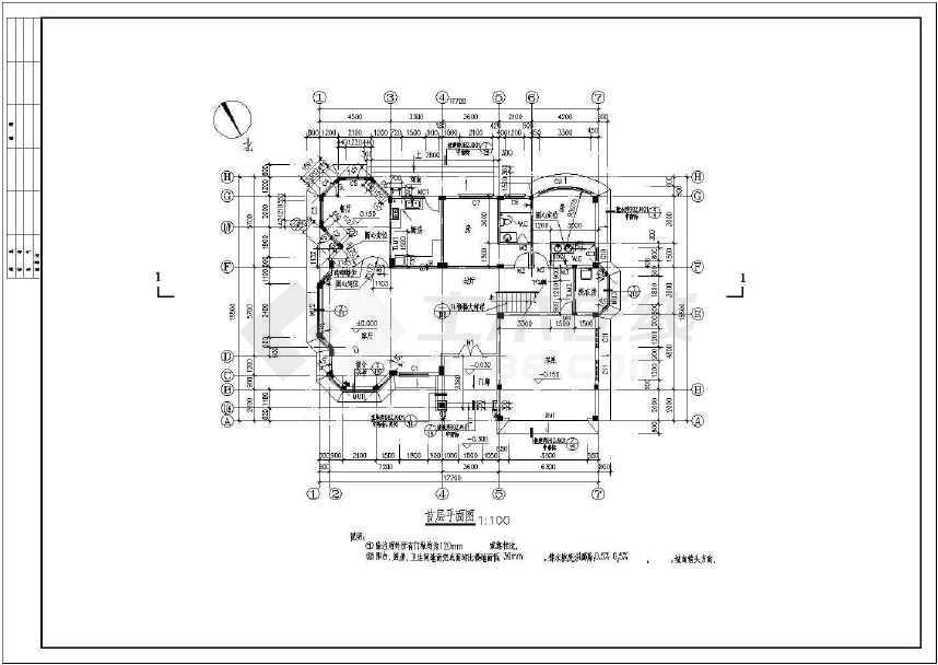 二层框架结构独栋别墅建筑、结构施工图,含效果图-图2