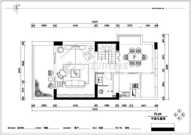 浪漫温馨别墅精品复式间图例装修施工CAD图cad隧道样板图片