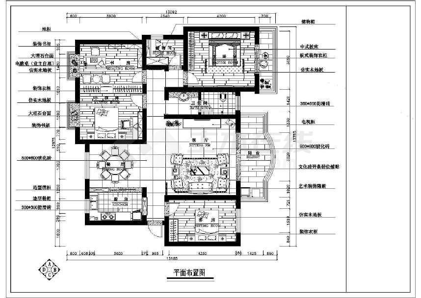 中式风格住宅室内设计施工图 附效果图高清图片