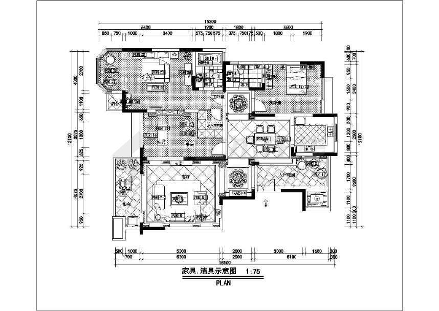 墙体拆改示意图,平面布置图,立面标识图,家具,洁具示意图,天花平面图