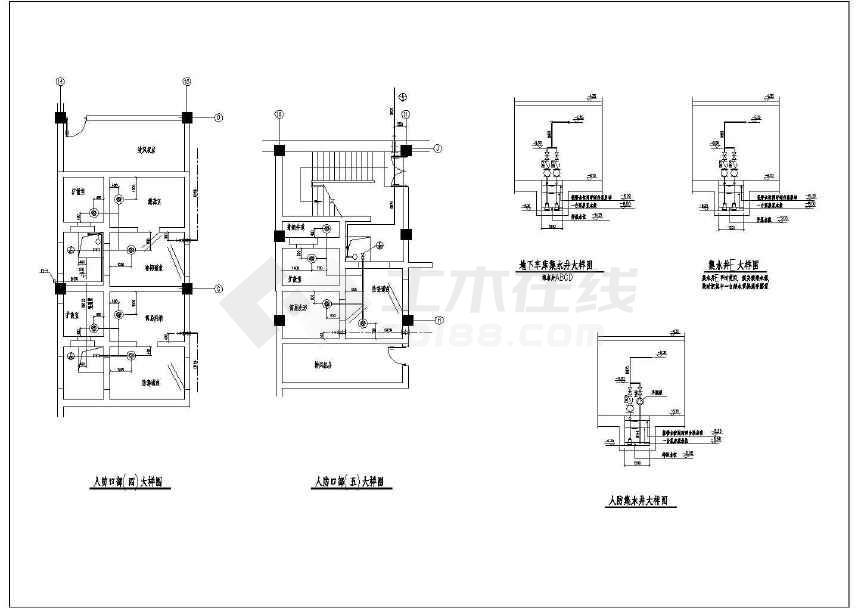 某地下车库及泵房给排水消防设计图(含人防)