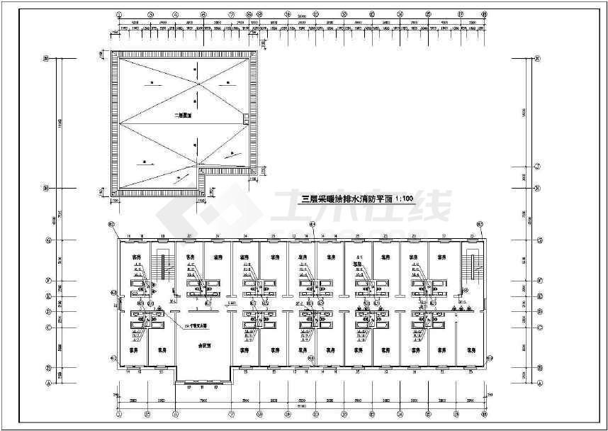 某宾馆给排水及消防管道设计平面施工图
