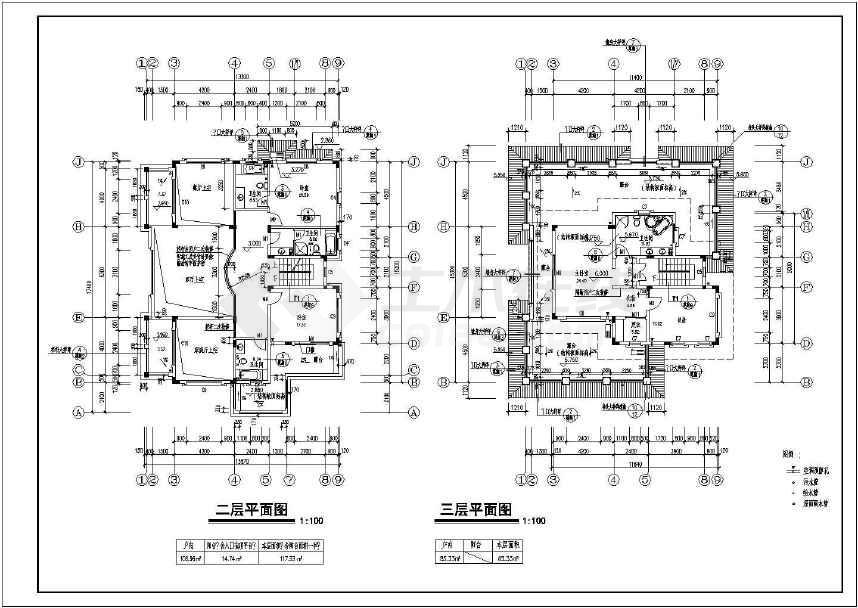 图纸包含了建筑设计说明,室内装修表,地下室平面图,底层平面图,二三层