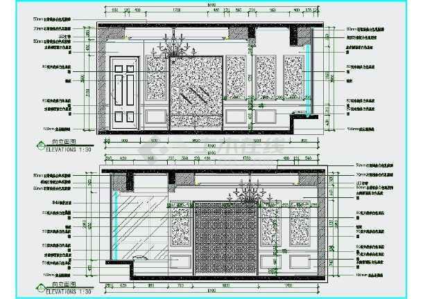 完整的欧式风格三室一厅两卫室内精装修图纸(含效果图)-图一