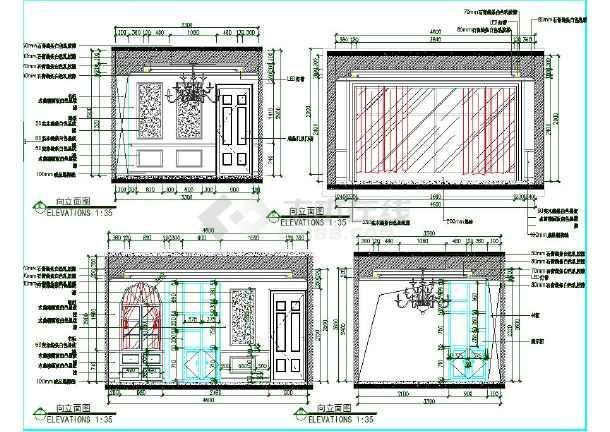 完整的欧式风格三室一厅两卫室内精装修图纸(含效果图)-图二