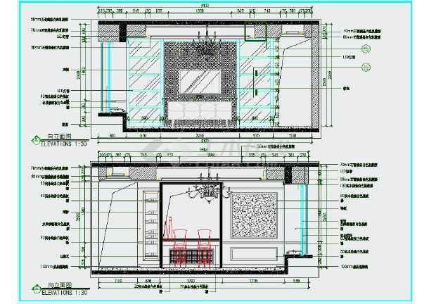 完整的欧式风格三室一厅两卫室内精装修图纸(含效果图)-图3