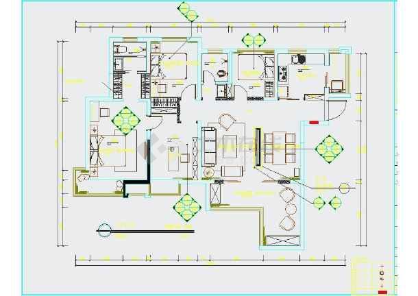 【江苏】现代三室一厅两卫室内装修图纸cad-图一