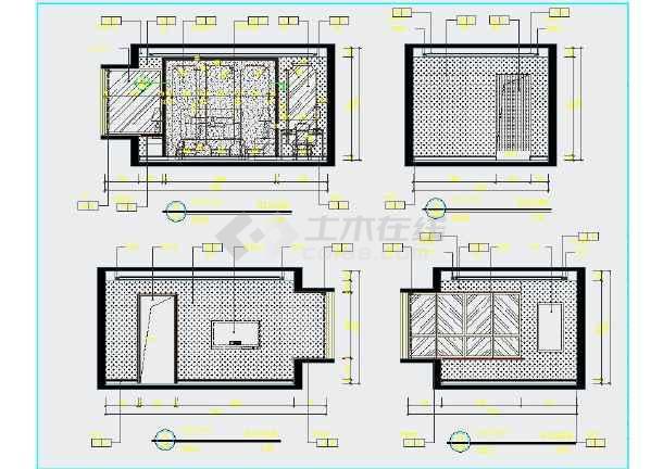 点击查看【江苏】现代三室一厅两卫室内装修图纸cad第2张大图