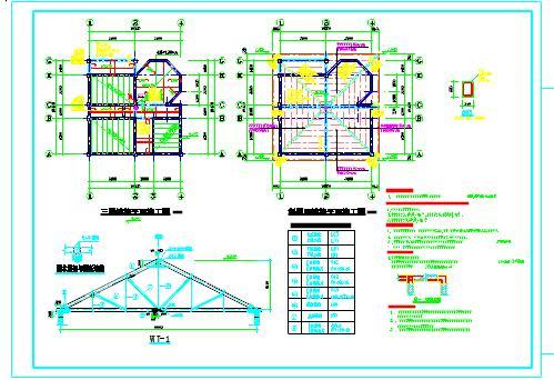 三层砖木结构房屋结构设计cad施工图(木屋架)图片1