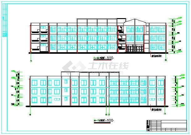 某3层教学楼建筑、结构设计图(框架结构)毕业设计(包括计算书、建筑图、结构图、开题报告、外文翻译、施工计算书、施工进度图、目录、摘要、翻译)-图一
