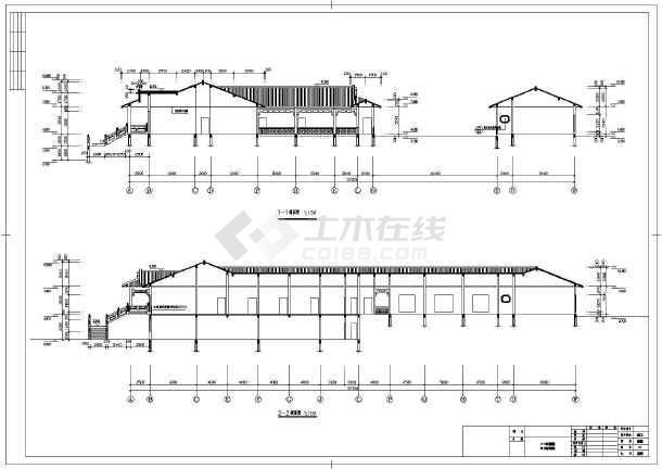 中式仿古农家乐山庄建筑结构施工设计cad方案图 马头墙块瓦