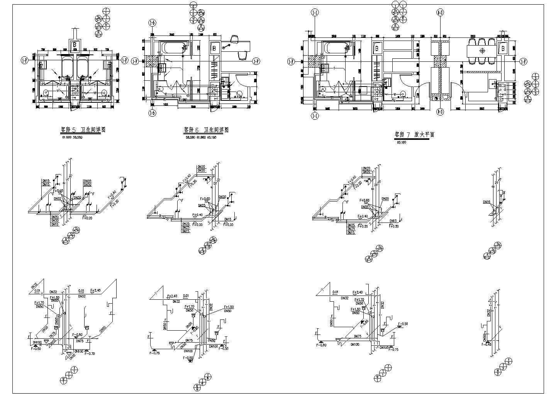 星级酒店客房及卫生间给排水施工设计cad平面布置方案图纸图片1