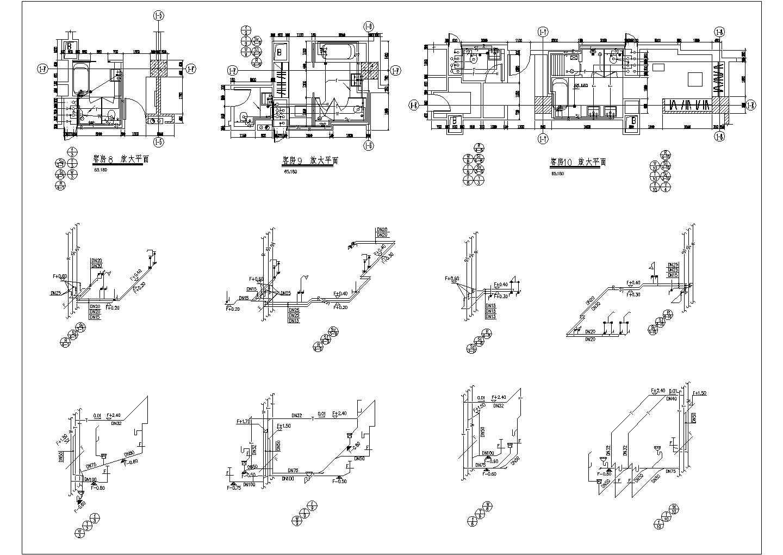 星级酒店客房及卫生间给排水施工设计cad平面布置方案图纸图片2