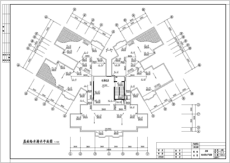 15层高层住宅楼给排水施工设计cad平面方案图(带厨房卫生间大样图)图片3
