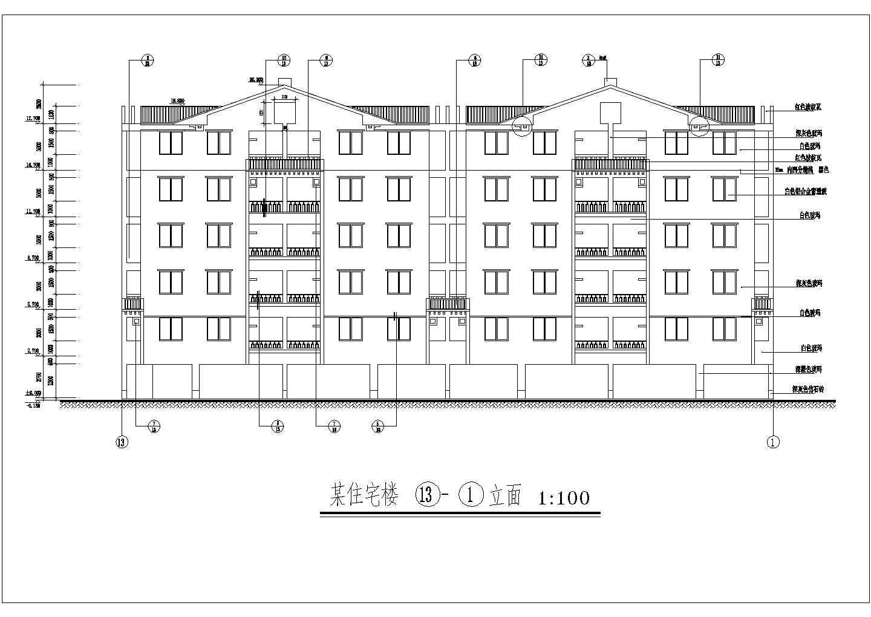 大学精致型五层安置公寓楼建筑设计cad施工方案图(带厨房卫生间大样图)图片2