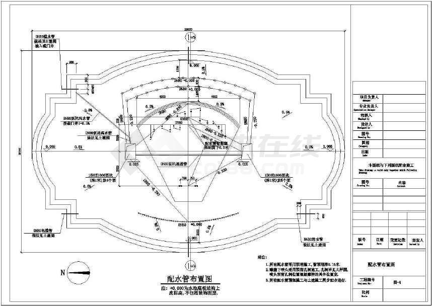 大型喷泉带雕塑水池彩灯景观规划设计cad施工布置图纸-图3