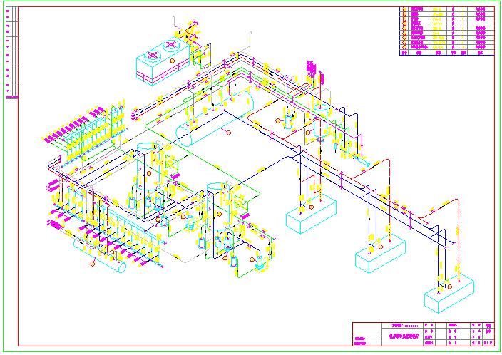 某地区小型厂区机房制冷系统透视图纸图片1
