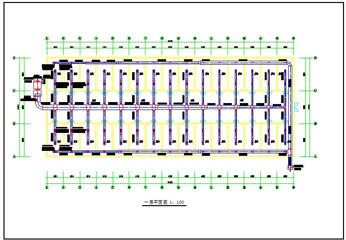 某地区小型恒温房中央空调一层平面图图片1