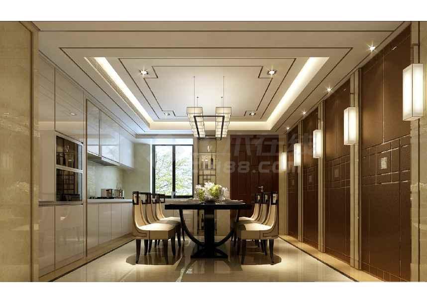 新中式别墅样室内设计施工图,含效果图及模型-图3