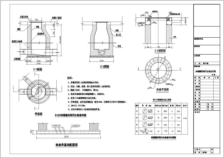 河南某地区工厂砖砌圆形雨污水检查井给排水设计cad图图片1