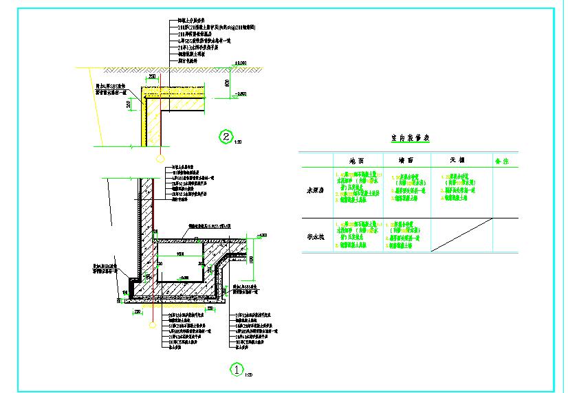 某地消防水池、泵房建筑cad施工图纸(含建筑结构水电暖)图片1