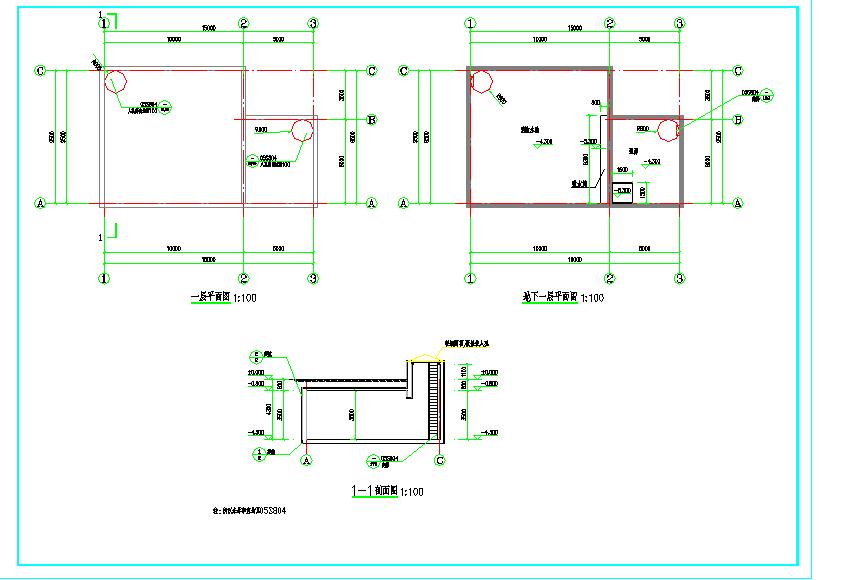 某地消防水池、泵房建筑cad施工图纸(含建筑结构水电暖)图片2
