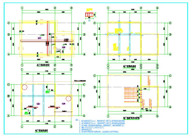 某地消防水池、泵房建筑cad施工图纸(含建筑结构水电暖)图片3