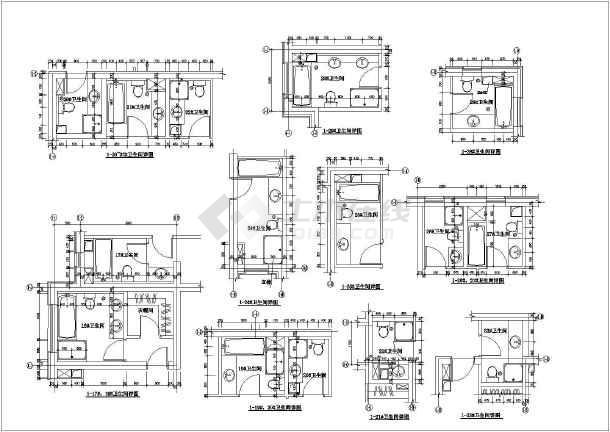 点击查看某地区商场卫生间设计施工CAD图纸第1张大图
