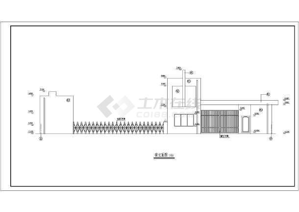 江苏某地区住宅小区围墙大门建筑设计CAD施工图-图一