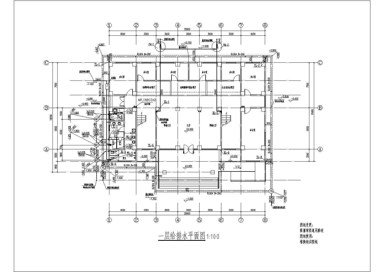 多层办公楼给排水消防施工图设计(含外线总图)图片2